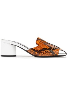Mcq Alexander Mcqueen Woman Strength Elaphe And Leather Mules Animal Print