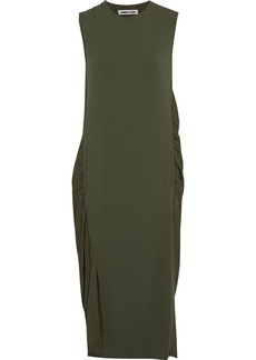 Mcq Alexander Mcqueen Woman Stretch-jersey And Ruched Crepe De Chine Midi Dress Army Green