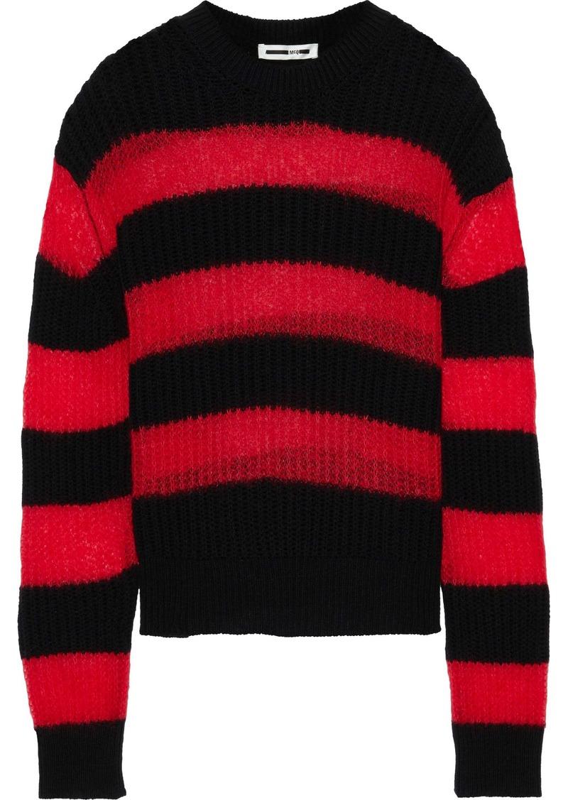 Mcq Alexander Mcqueen Woman Striped Brushed Crochet-knit Wool-blend Sweater Red