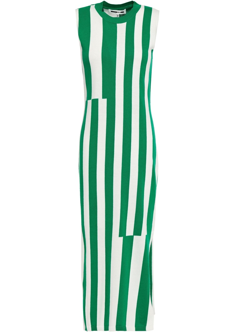 Mcq Alexander Mcqueen Woman Striped Cotton Midi Dress Green