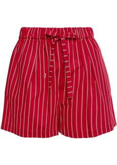 Mcq Alexander Mcqueen Woman Striped Cotton-poplin Shorts Red