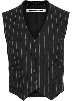 Mcq Alexander Mcqueen Woman Striped Floral-jacquard And Satin-twill Vest Black