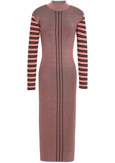 Mcq Alexander Mcqueen Woman Striped Ribbed-knit Midi Dress Bubblegum
