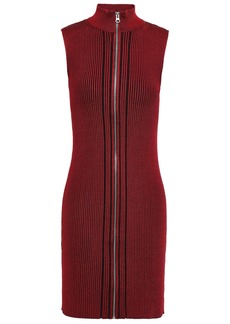 Mcq Alexander Mcqueen Woman Striped Ribbed-knit Mini Dress Claret