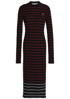 Mcq Alexander Mcqueen Woman Striped Wool Midi Dress Black