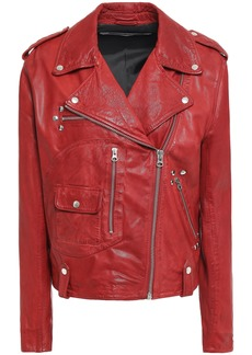 Mcq Alexander Mcqueen Woman Studded Leather Biker Jacket Brick