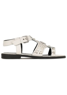 Mcq Alexander Mcqueen Woman Studded Textured-leather Sandals White