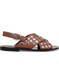 Mcq Alexander Mcqueen Woman Sundance Studded Leather Slingback Sandals Light Brown
