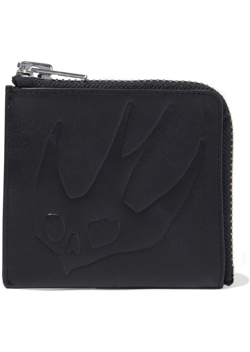 Mcq Alexander Mcqueen Woman Swallow Embossed Leather Coin Purse Black