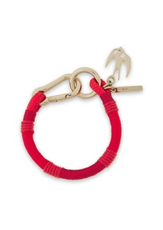 Mcq Alexander Mcqueen Woman Swallow Gold-tone Braided Cord And Leather Bracelet Red