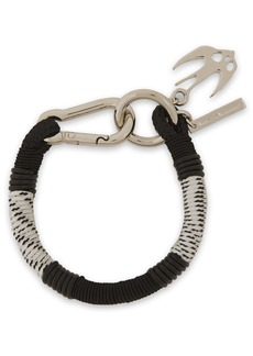 Mcq Alexander Mcqueen Woman Swallow Silver-tone Braided Cord And Leather Bracelet Black