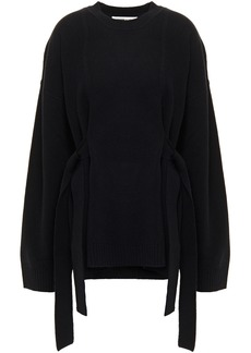 Mcq Alexander Mcqueen Woman Tie-detailed Wool And Cashmere-blend Sweater Black