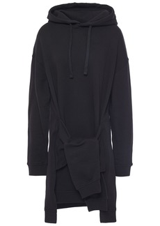 Mcq Alexander Mcqueen Woman Tie-front French Cotton-terry Hooded Mini Dress Black