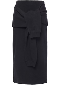 Mcq Alexander Mcqueen Woman Tie-front French Cotton-terry Midi Pencil Skirt Black
