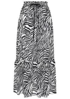 Mcq Alexander Mcqueen Woman Tiered Zebra-print Silk Crepe De Chine Midi Skirt Black
