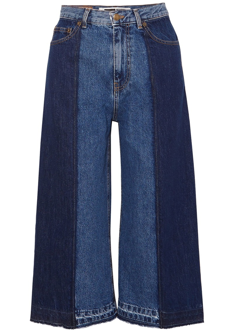 Mcq Alexander Mcqueen Woman Cropped Two-tone High-rise Wide-leg Jeans Mid Denim