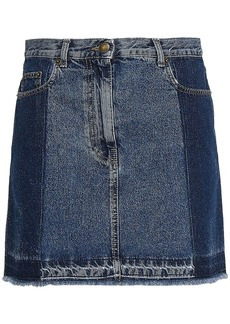 Mcq Alexander Mcqueen Woman Two-tone Denim Mini Skirt Mid Denim