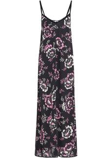 Mcq Alexander Mcqueen Woman Velvet-trimmed Floral-print Crepe De Chine Maxi Slip Dress Black