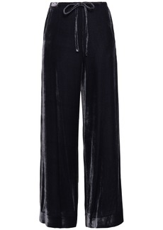 Mcq Alexander Mcqueen Woman Velvet Wide-leg Pants Dark Purple