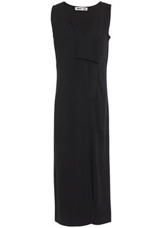Mcq Alexander Mcqueen Woman Wrap-effect Draped Ponte Midi Dress Black