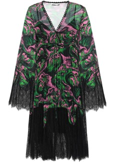 Mcq Alexander Mcqueen Woman Wrap-effect Lace-paneled Printed Georgette Dress Green