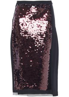 Mcq Alexander Mcqueen Woman Wrap-effect Sequined Tulle And Silk Crepe De Chine Midi Skirt Black