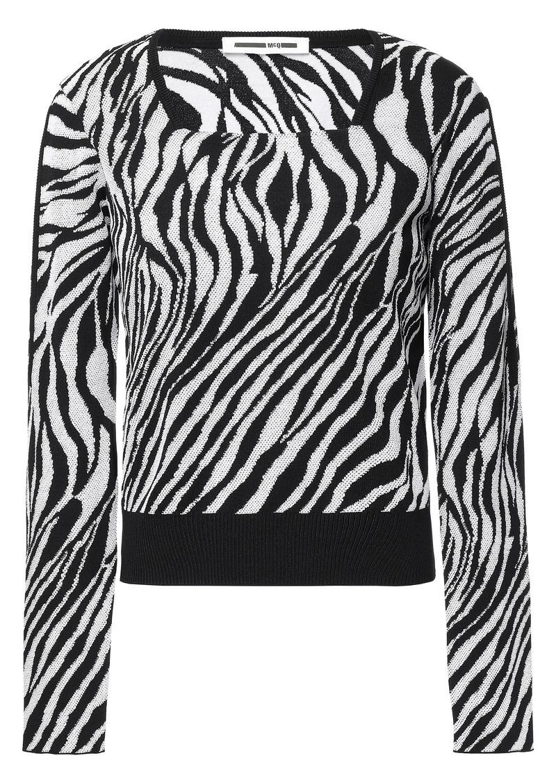 Mcq Alexander Mcqueen Woman Zebra-print Jacquard-knit Sweater Black