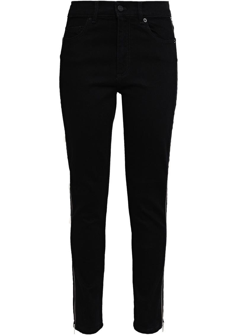 Mcq Alexander Mcqueen Woman Zip-detailed High-rise Skinny Jeans Black