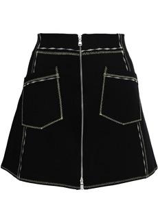 Mcq Alexander Mcqueen Woman Zip-detailed Stretch-knit Mini Skirt Black