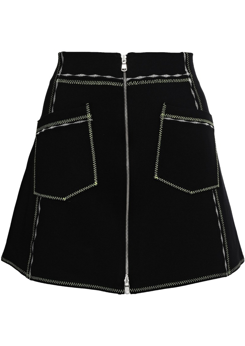 Mcq Alexander Mcqueen Woman Zip-detailed Stretch-knit Mini Skirt Black