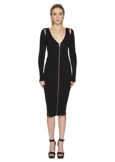 McQ Alexander McQueen Bodycon Zip V Dress