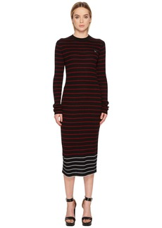 McQ Alexander McQueen Swallow Distorted Striped Dress