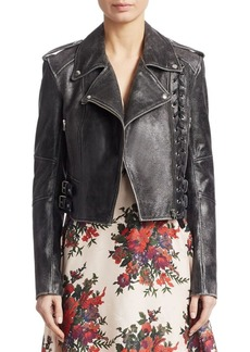 McQ Alexander McQueen Metallic Braided Leather Jacket