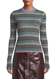 McQ Alexander McQueen Metallic Striped Ribbed Sweater