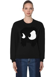 McQ Alexander McQueen Monster Flocked Cotton Sweatshirt