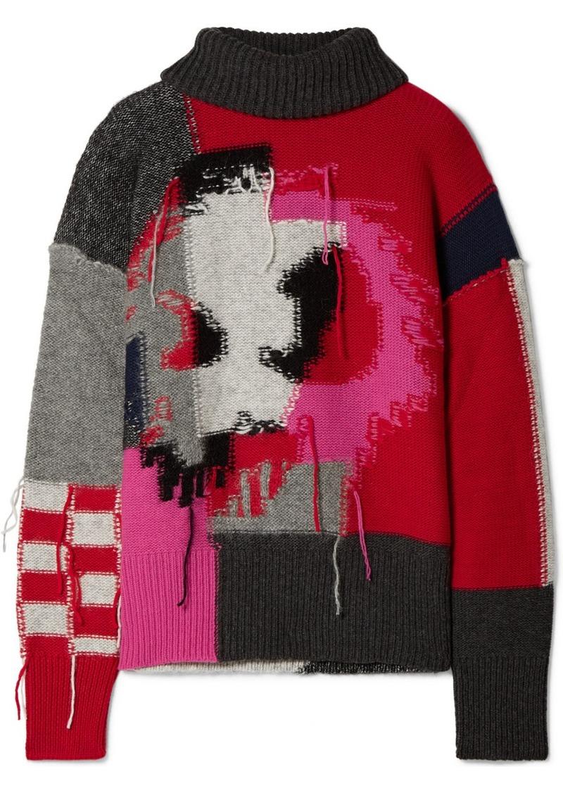 McQ Alexander McQueen Monster Patchwork Intarsia Wool-blend Turtleneck Sweater