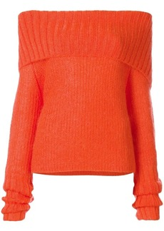 McQ Alexander McQueen off-the-shoulder chunky knit jumper