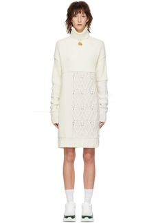 McQ Alexander McQueen Off-White Patched Cable Turtleneck Dress