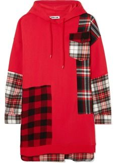 McQ Alexander McQueen Hooded Oversized Patchwork Cotton-jersey And Checked Flannel Dress