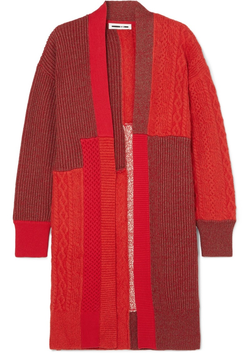 McQ Alexander McQueen Oversized Patchwork Knitted Cardigan