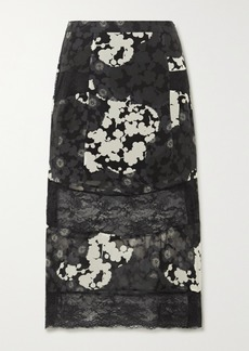 McQ Alexander McQueen Paneled Floral-print Silk-chiffon And Lace Midi Skirt