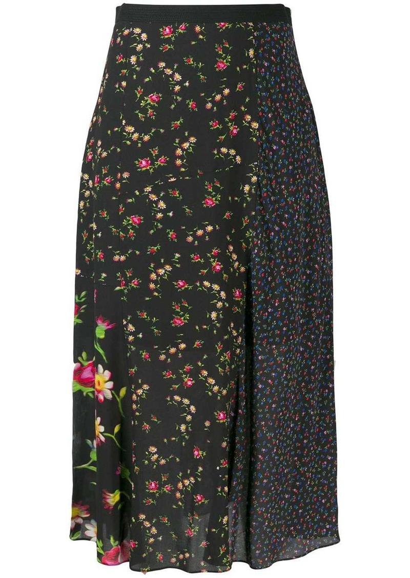 McQ Alexander McQueen panelled floral skirt