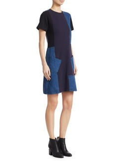 McQ Alexander McQueen Patch Denim Jersey Mini Dress