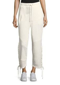 McQ Alexander McQueen Patch Drawstring Boyfriend Cotton Jogger Pants