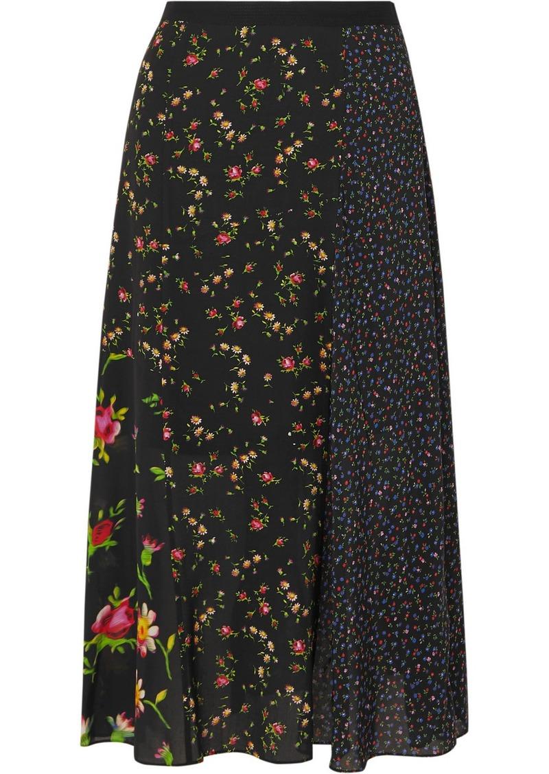 McQ Alexander McQueen Patchwork Floral-print Crepe De Chine Midi Skirt