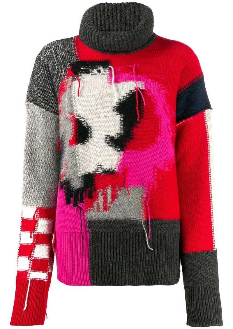 McQ Alexander McQueen patchwork knit jumper