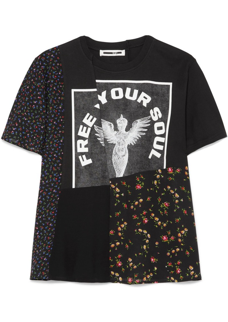 McQ Alexander McQueen Patchwork Printed Cotton-jersey And Crepe De Chine T-shirt