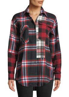 McQ Alexander McQueen Patchwork Tartan-Check Button-Front Shirt