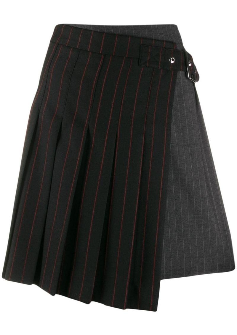 McQ Alexander McQueen pinstripe buckled skirt