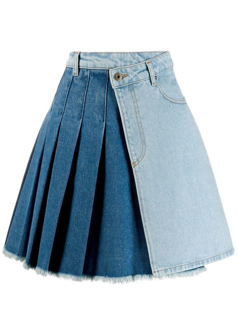 McQ Alexander McQueen pleated denim asymmetric skirt